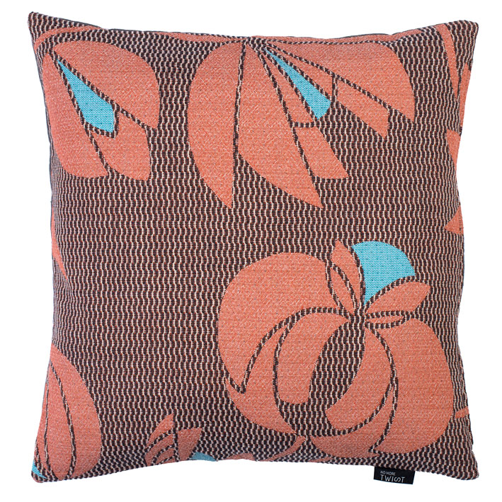Volubilis coral - cushion      45 x 45 cm        front side:    wool 96% silk 4%     back side: dark grey linen 100%