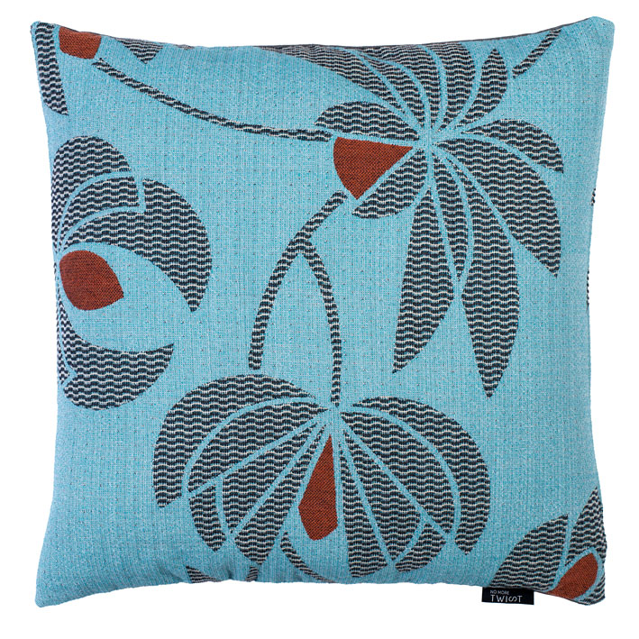 Volubilis blue - cushion      45 x 45 cm        front side:    wool 96% silk 4%     back side: dark grey linen 100%