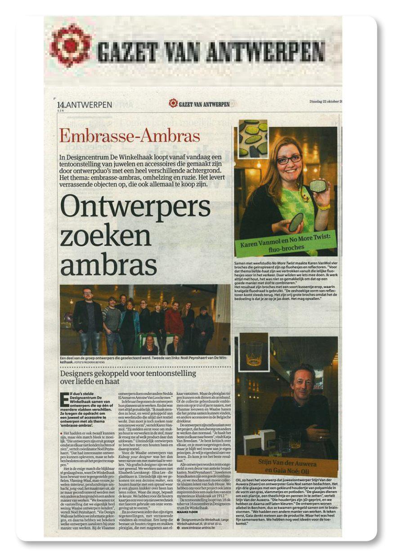 Gazet van Antwerpen 10/2013