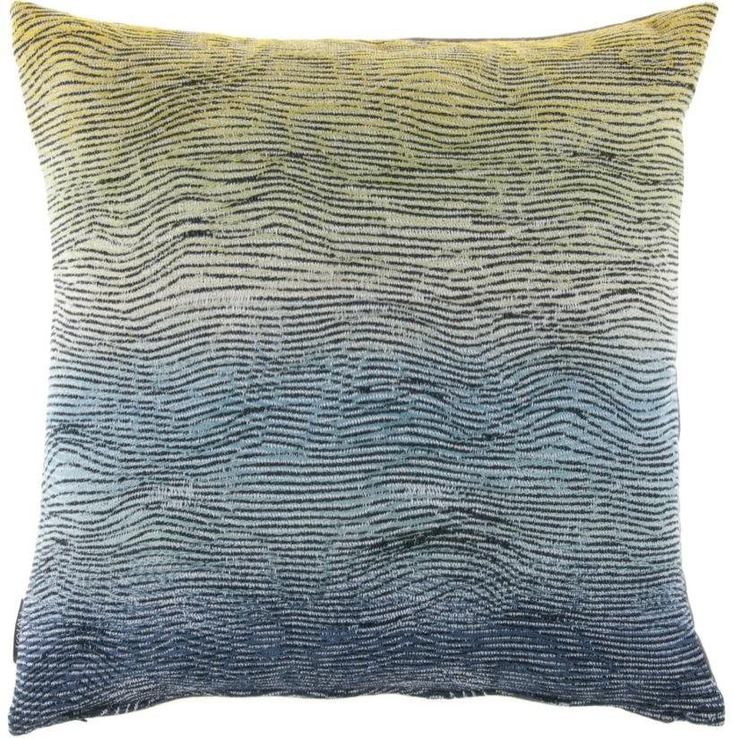 Lazure/ green shades - cushion 45 x 45 cm  front side:  wool 95%, silk 5%   back side: dark grey linen 100%