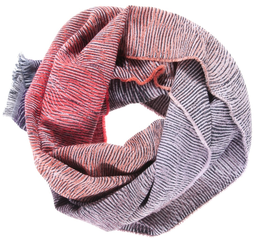 Lazure/orange - scarf 47 x 200 cm  composition: 95% wool 5% silk