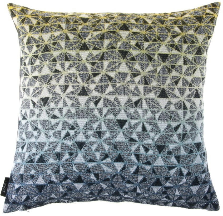 cosmogony//green shades - cushion  46 x 46 cm  front side:  95% wool 5% silk  back side: dark grey linen 100%