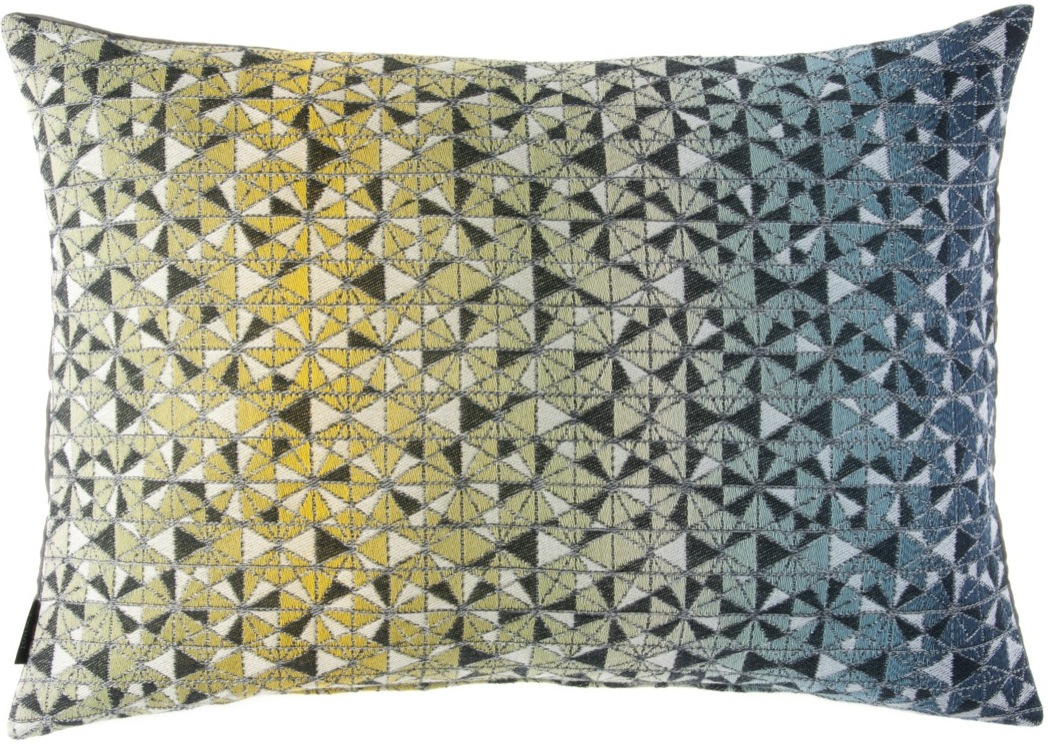 cosmogony/green shades cushion  46 x 70 cm  front side:  95% wool 5% silk  back side: dark grey linen 100%