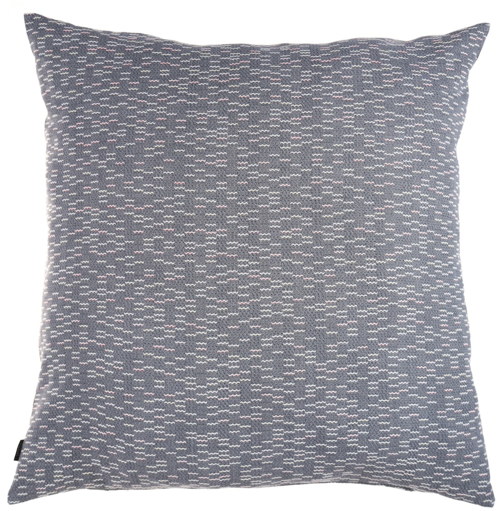 Clapotis/blue - floor cushion XL ≅ 90 x 90 cm  Composition Frontside: jacquard woven fabric 75% wool 20% viscose 5% silk Composition backside: plain weave grey fabric, 80% cotton, 20% polyester
