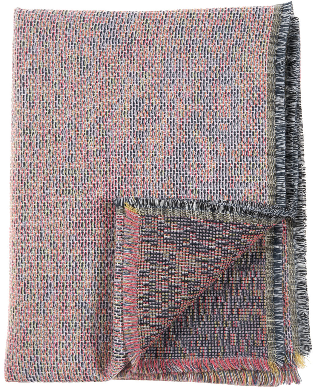 Reflet/ orange - mini throw ≅ 142 x 110 cm  Composition: jacquard woven fabric 78% wool 16% viscose 6% silk