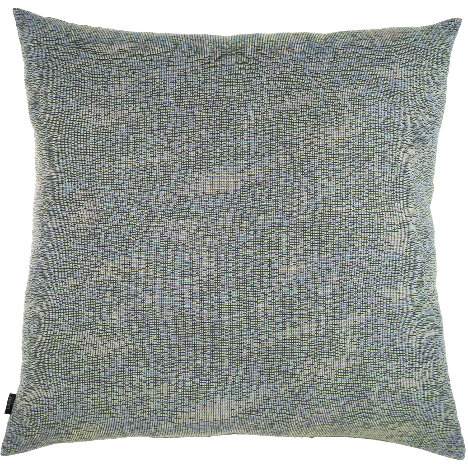 Reflet/ dark blue - floor cushion XL ≅ 90 x 90 cm  Composition frontside: jacquard woven fabric 78% wool 16% viscose 6% silk Composition backside: plain weave grey fabric, 80% cotton, 20% polyester