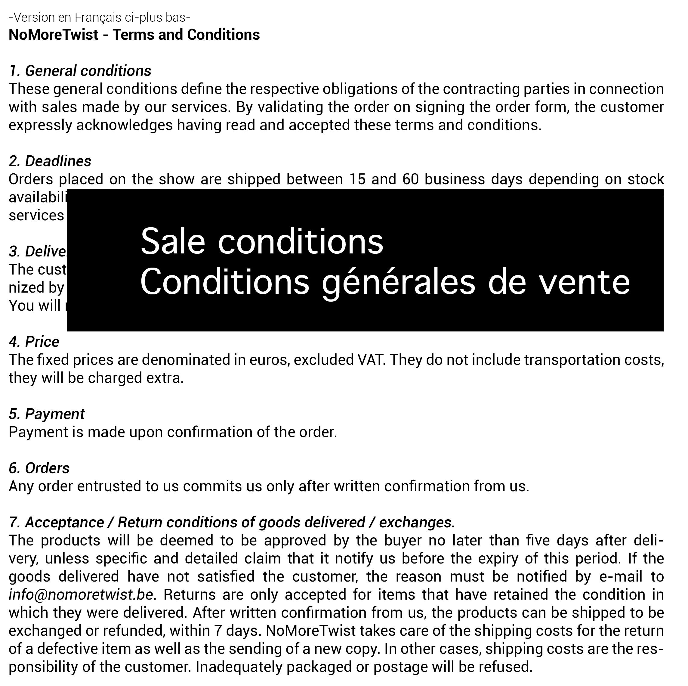 ouvrir les conditions de vente / open the sale conditions