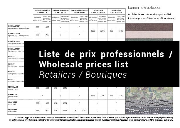 Télécharger la liste de prix professionnel / Download the  Wholesale prices list
