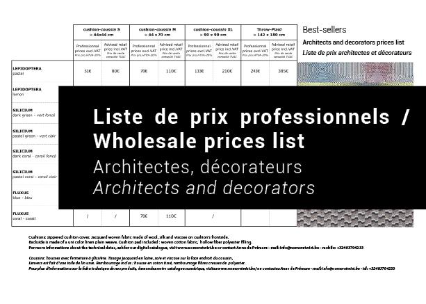 Télécharger la liste de prix pour les décorateurs et architectes / Download the prices list for  interior decorator and architects