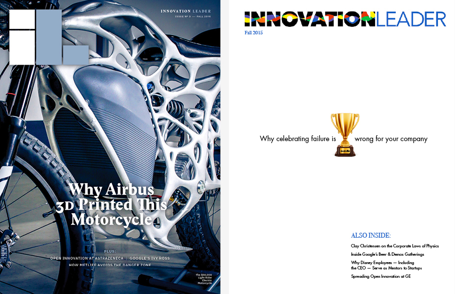 Our most recent cover for Innovation Leader (left), and the premier issue cover (right).