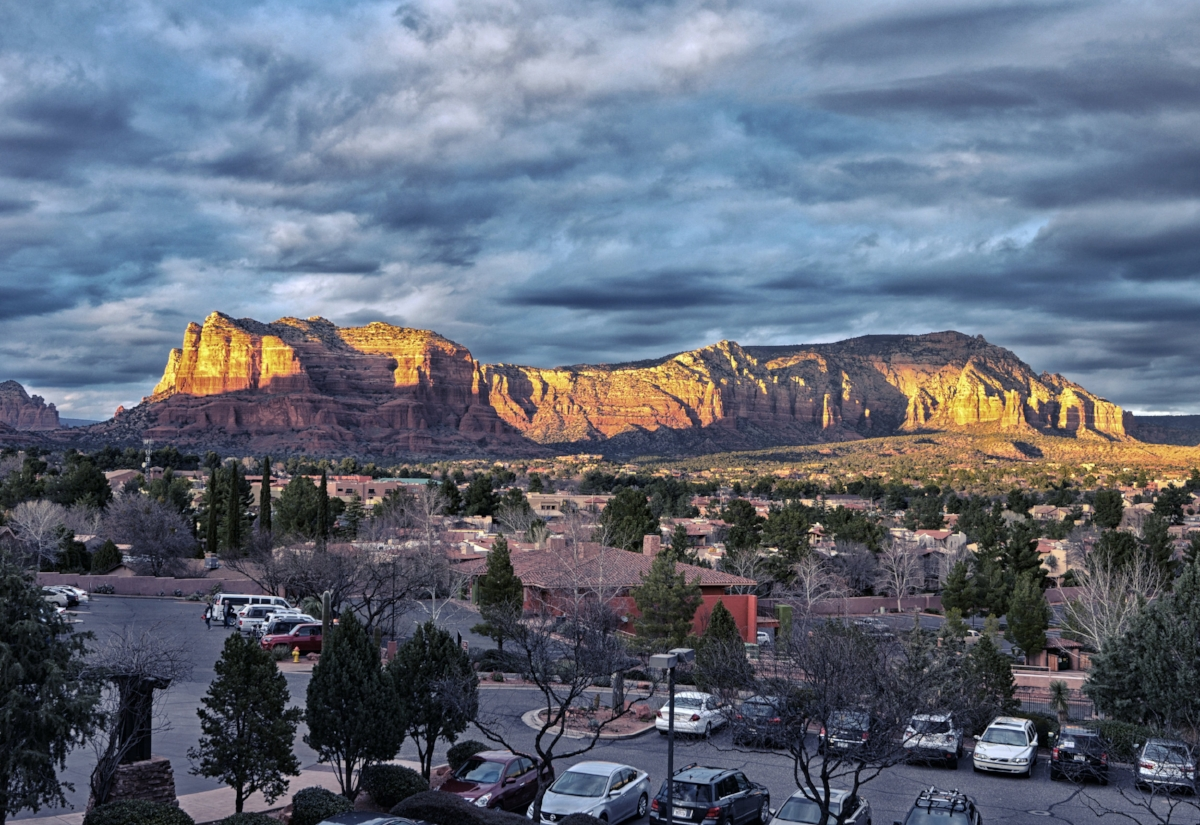 """The """"Red Rocks"""" view from our room at the Hilton."""