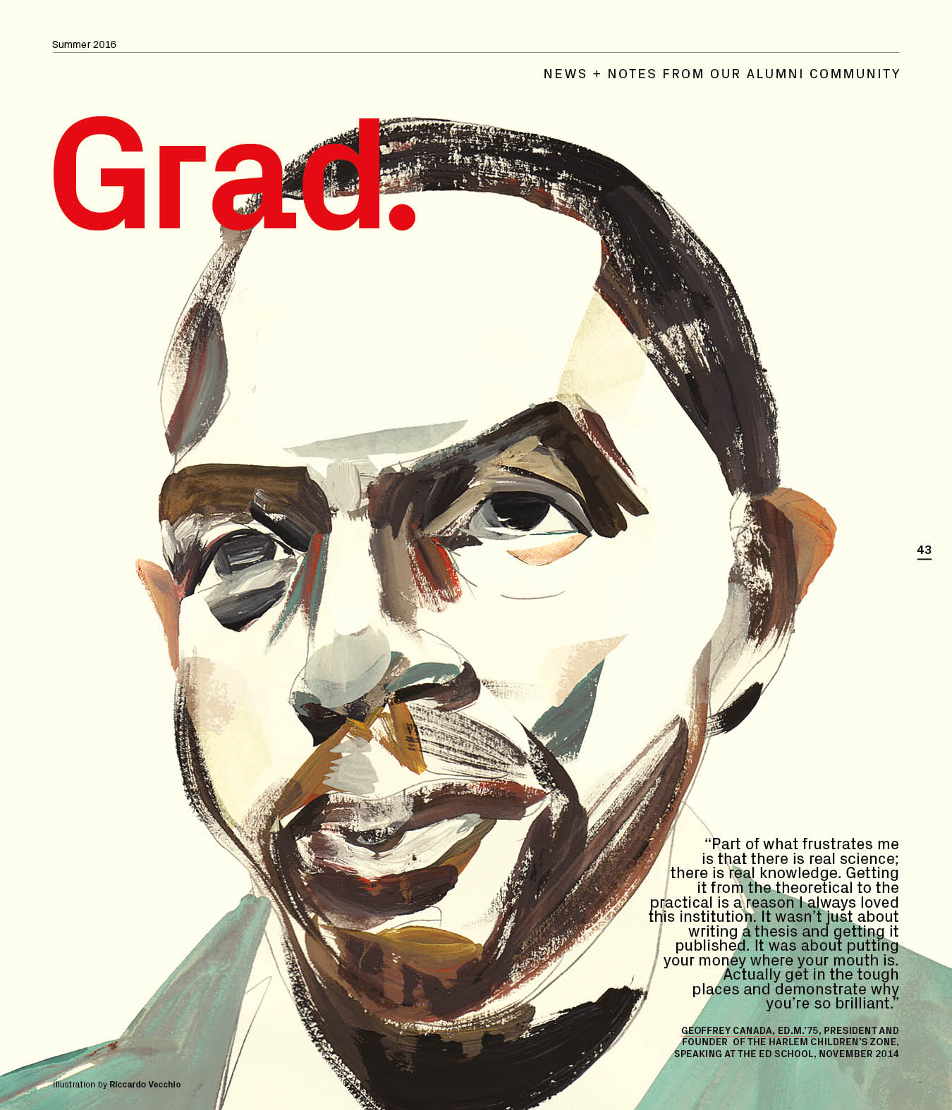 Grad., the magazine's alumni notes section, is illustrated by Riccardo Vecchio.