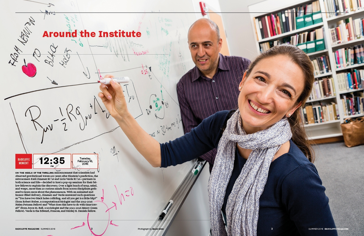 "The front of the book (FOB) section, ""Around the Institute,"" opens with a new feature called ""Radcliffe Moment,"" which highlights activities that are unique to the Institute. (Photograph by Jason Grow)"