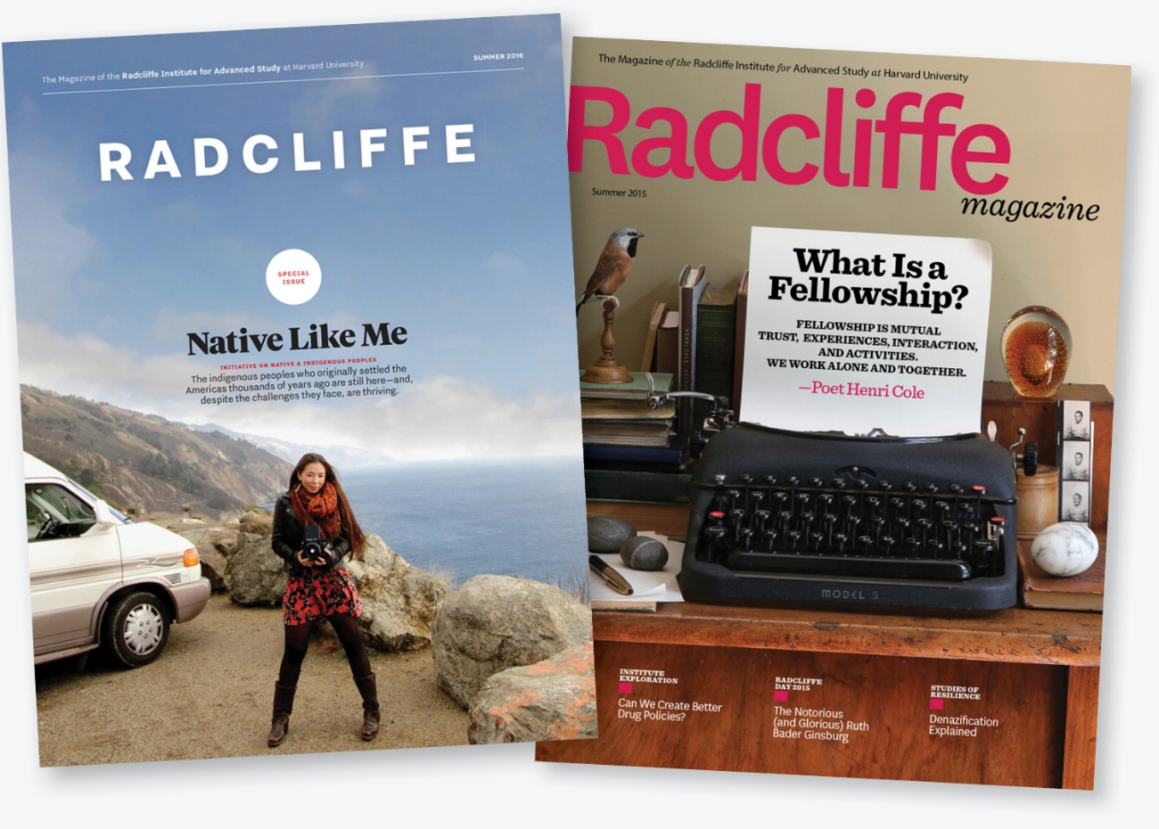 The new Radcliffe Magazine (left) and a previous issue.