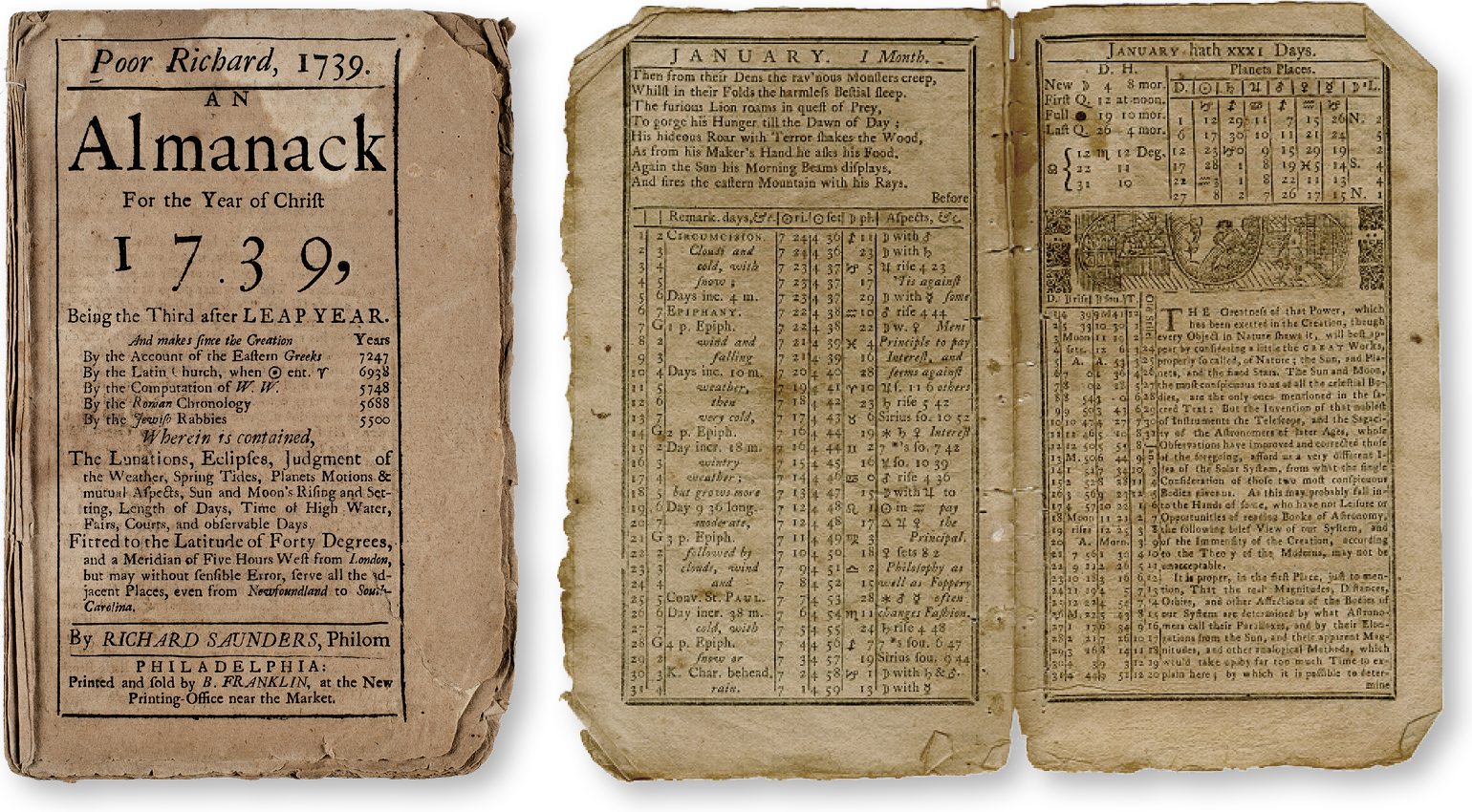 Our research went back, the opening titles to HBO's 2008 series  John Adams  (below), and  waaaay  back, to  Poor Richard's Almanack  (above) from 1739.