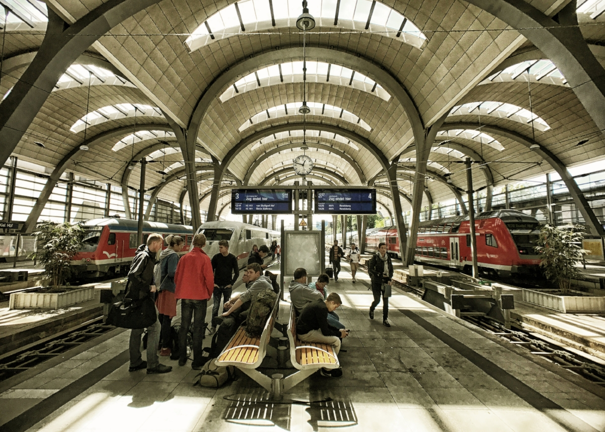 My boys and I love trains. Therefore, we visited train stations in every city on this trip, including this one in Kiel.