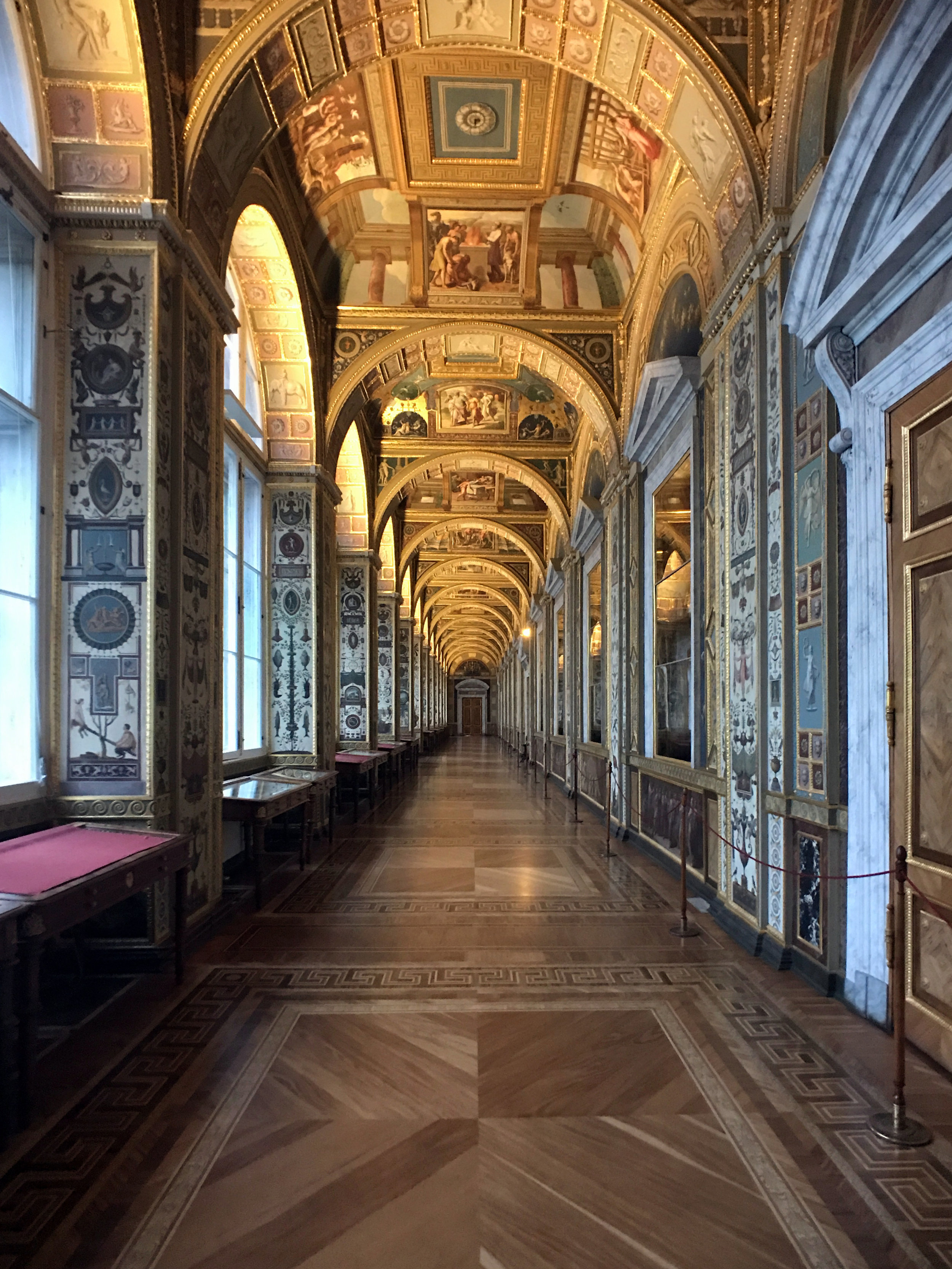 Commissioned by Catherine the Great in the late 1780s, the Raphael Loggias are copies of the Gallery in the Papal Palace in Vatican City.