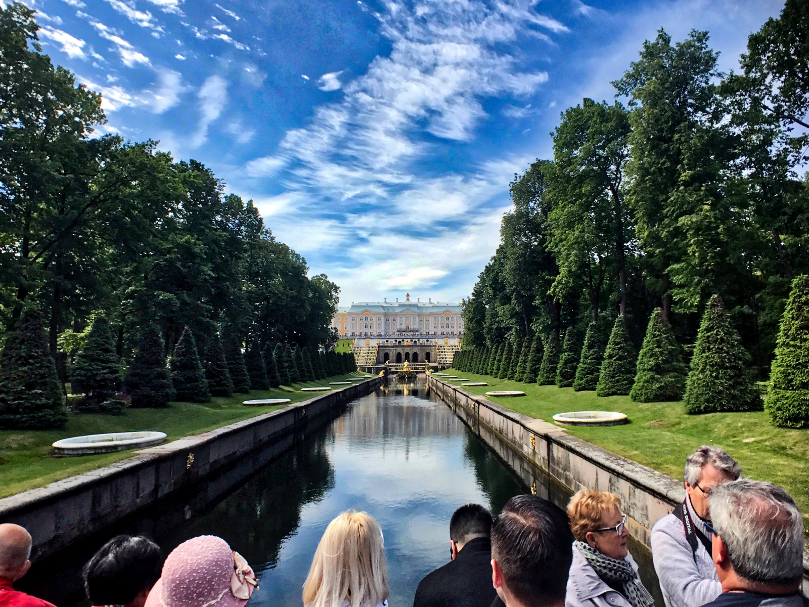 Peterhof Palace and the Grand Cascade viewed from the Sea Channel