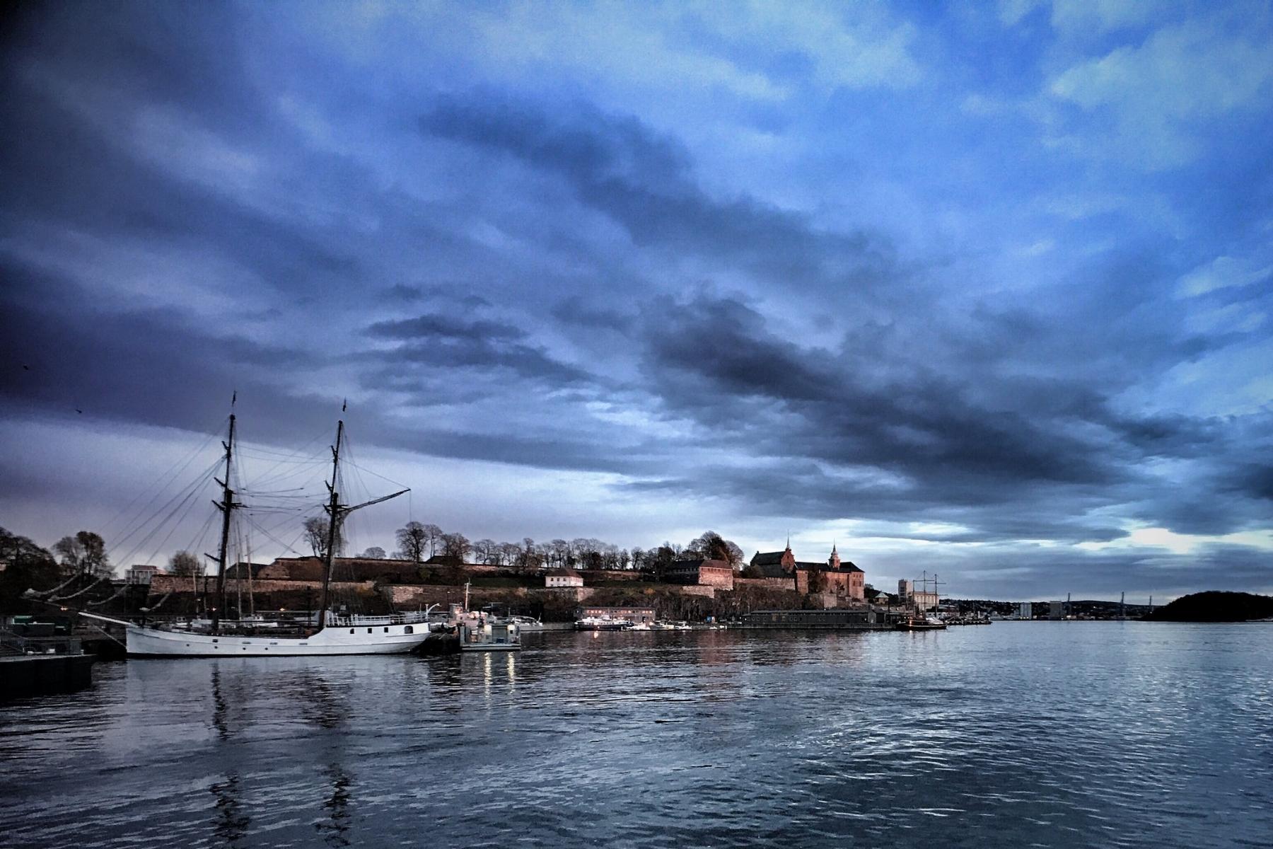 Akershus Festning overlooks Oslofjord and the 1937 ship  Christian Radich