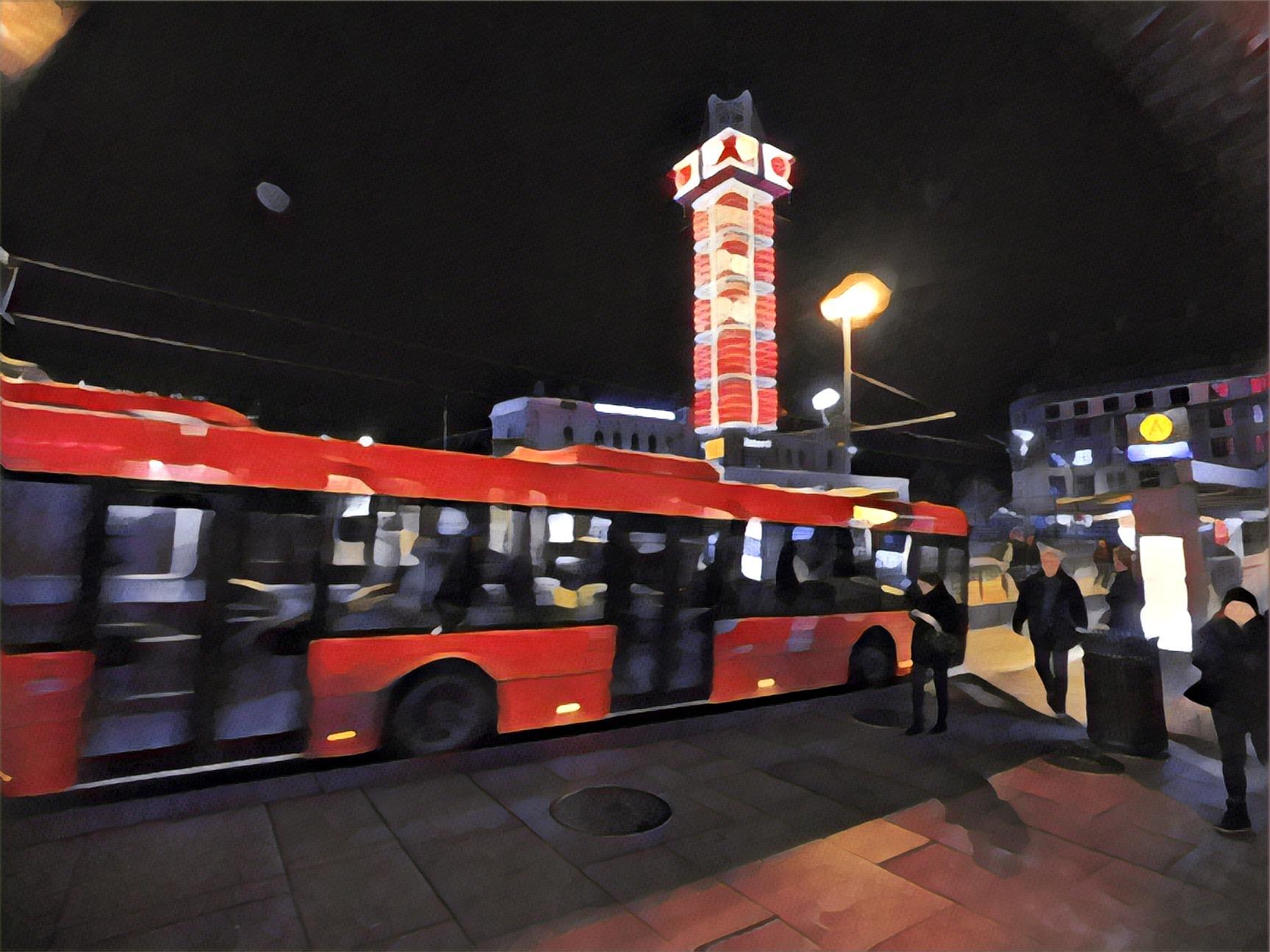 Night scene at Oslo Sentralstasjon (Central Station)