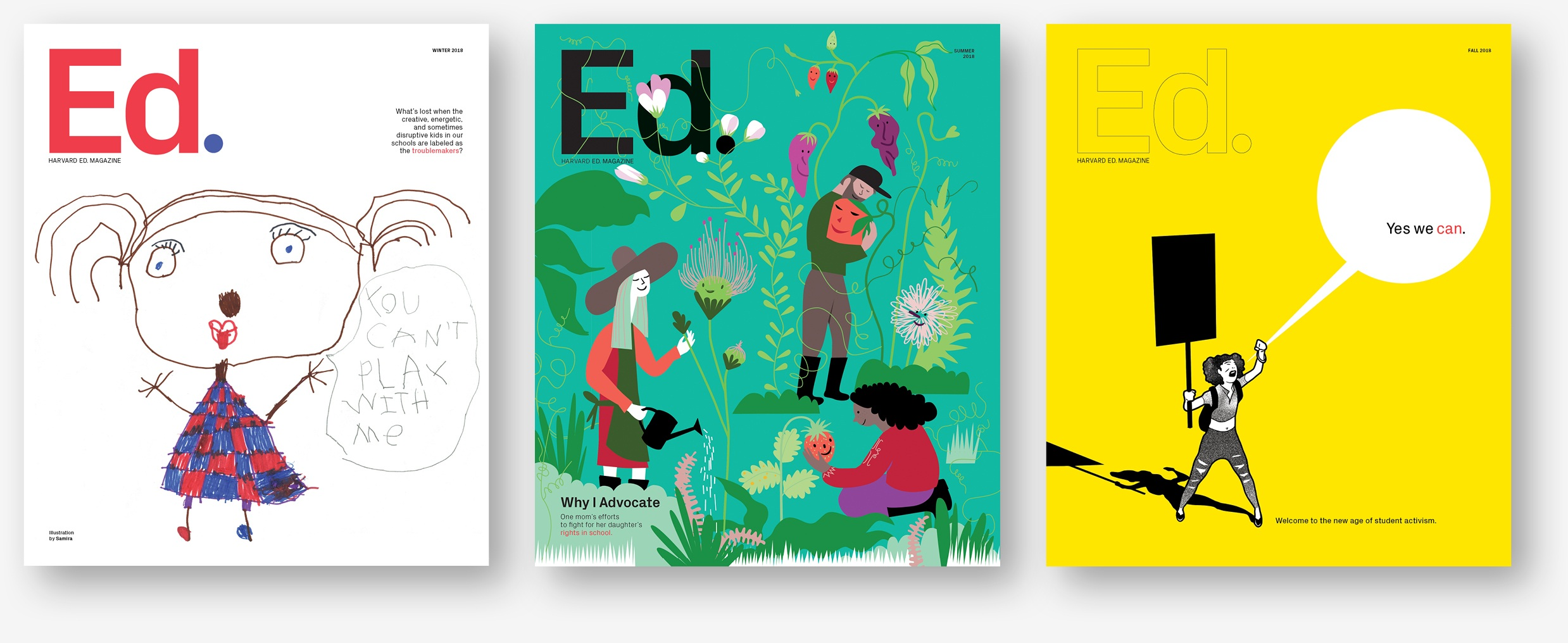 Our 2018 covers of  Harvard Ed .
