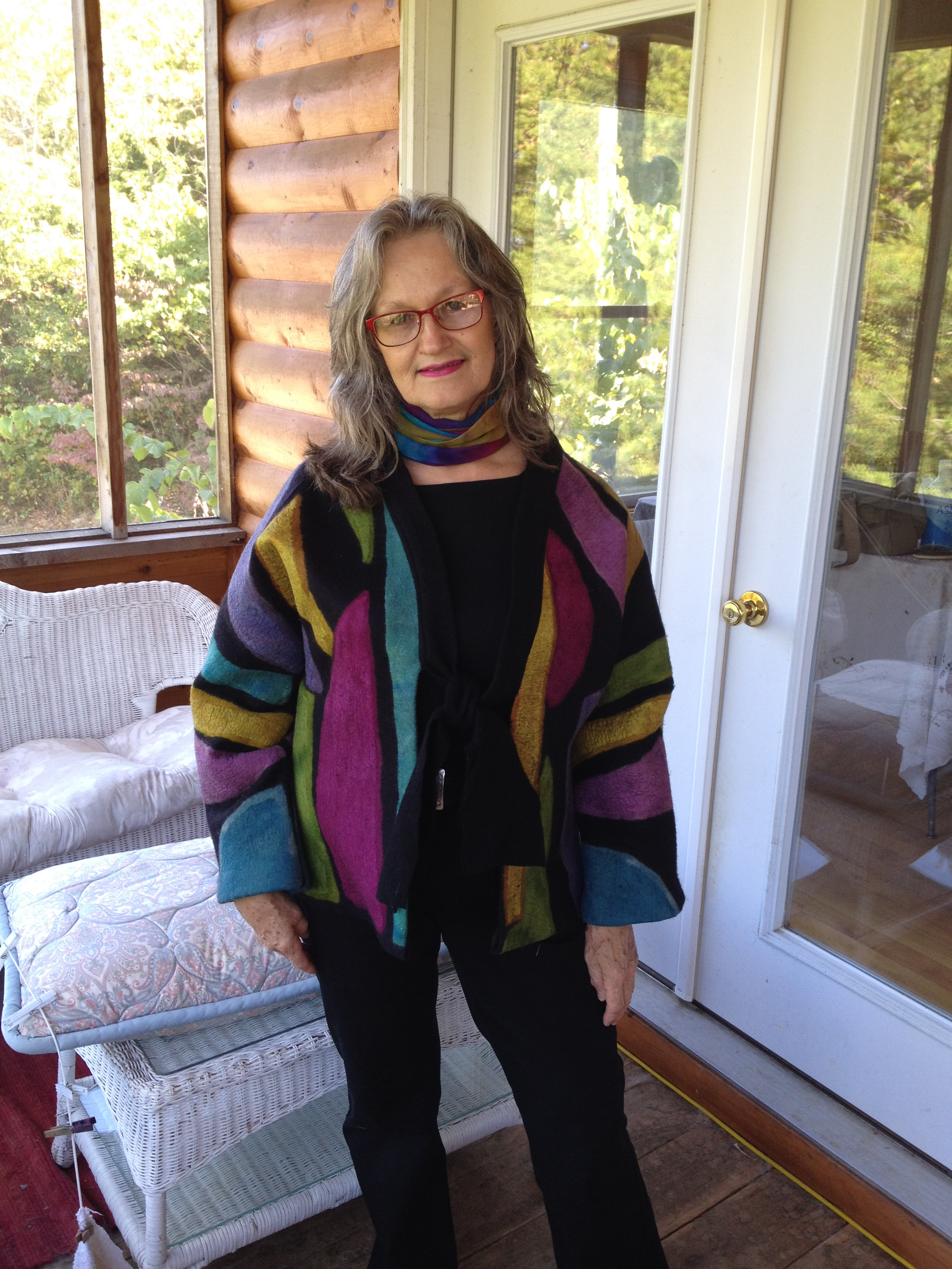 Dyed silk and merino jacket, wet felted and prefelted on the FeltLOOM
