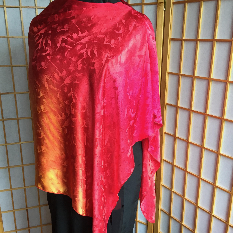 Shibori dyed silk jacquard poncho