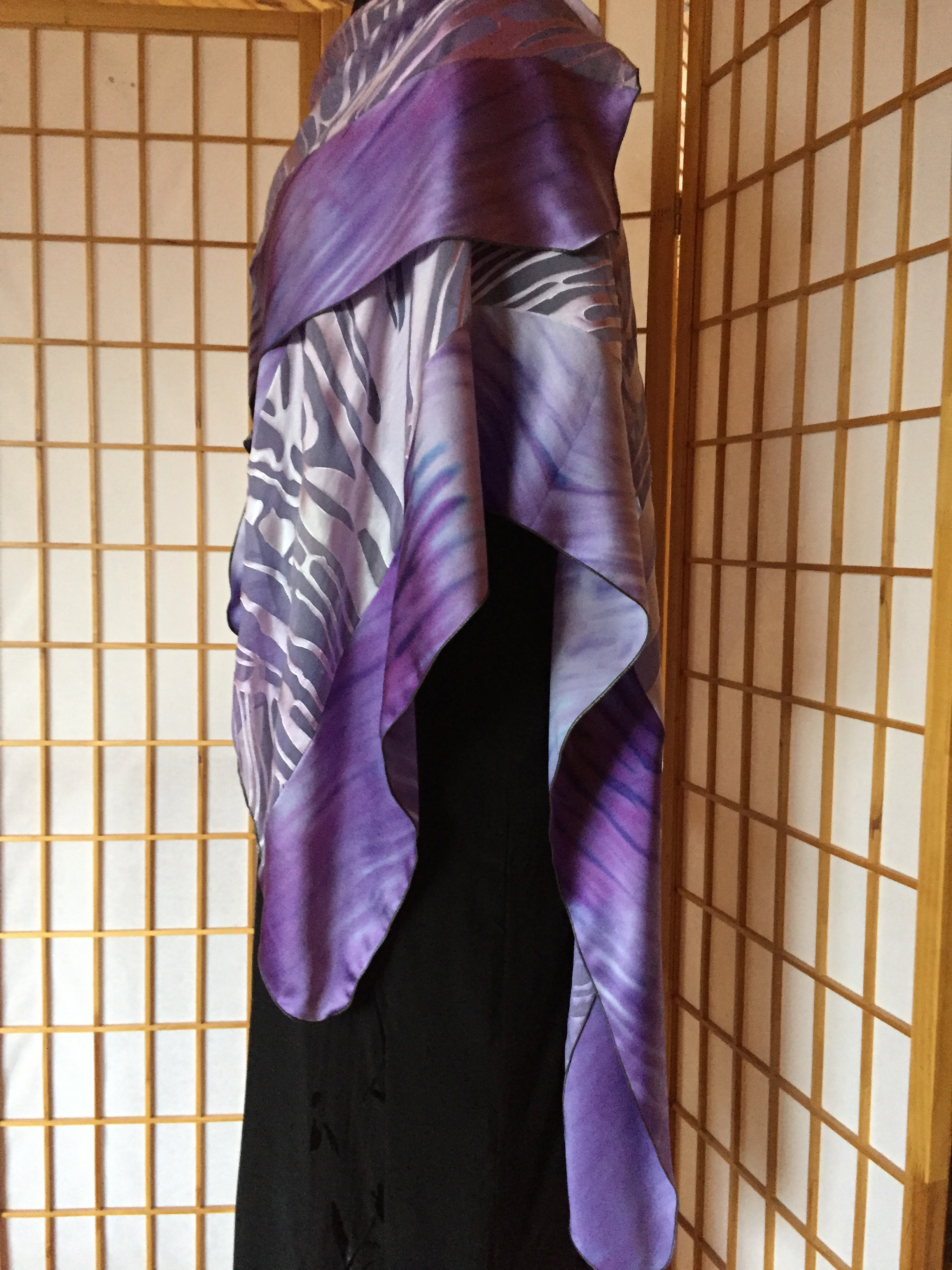Shibori Silk Charmeuse and Devore Wrap