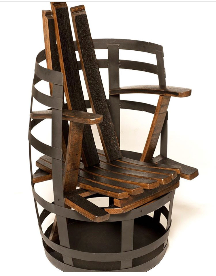 Chair from recycled bourbon barrels