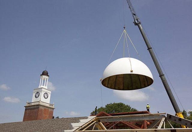 Putting the new dome on the Christian Center at Millsaps College! #historicpreservation #enhancinghistory