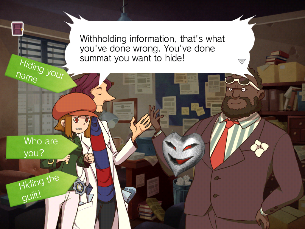 Statements are given weight by the words in the arrows that impact the opposing character