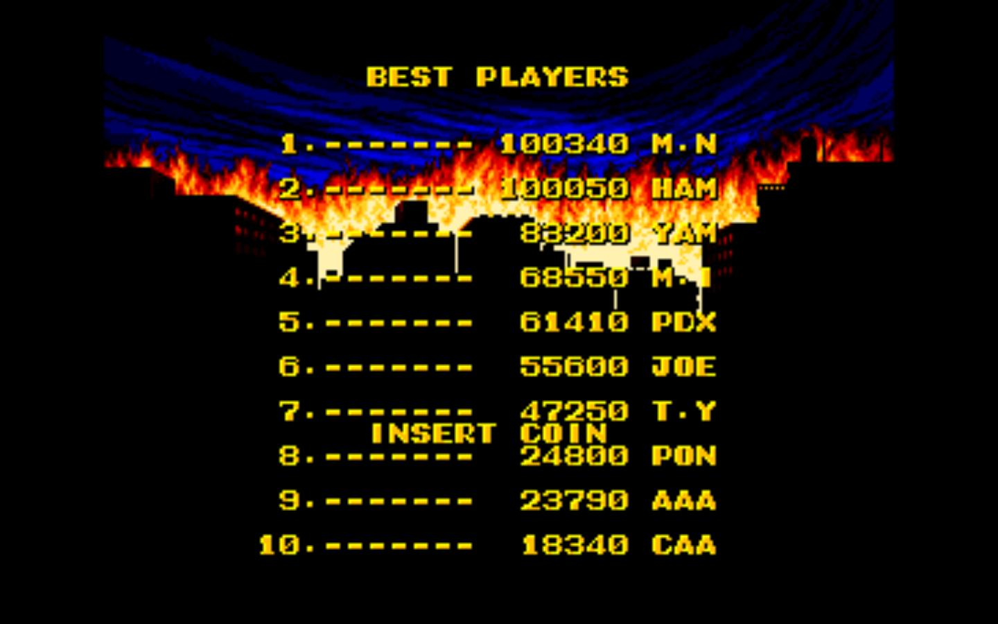 Fun fact: It's hard to find a hi-res version of the Pac-Man high-score screen. Enjoy King of the Monsters for the Neo Geo's instead.