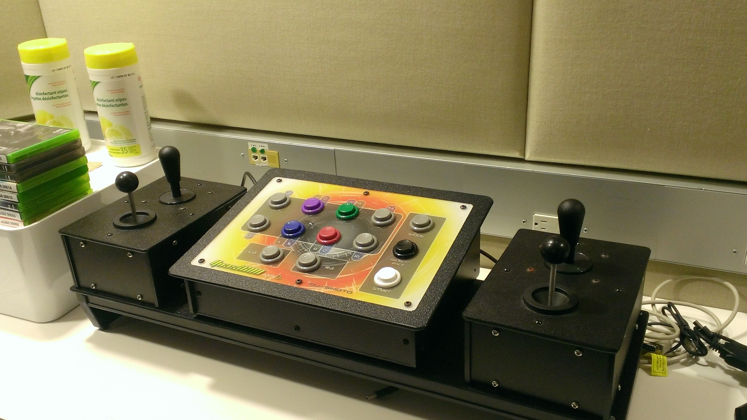 The third control pad, similar to a fighting stick, was not attached to any game at the University of Toronto, but is completely customizable.