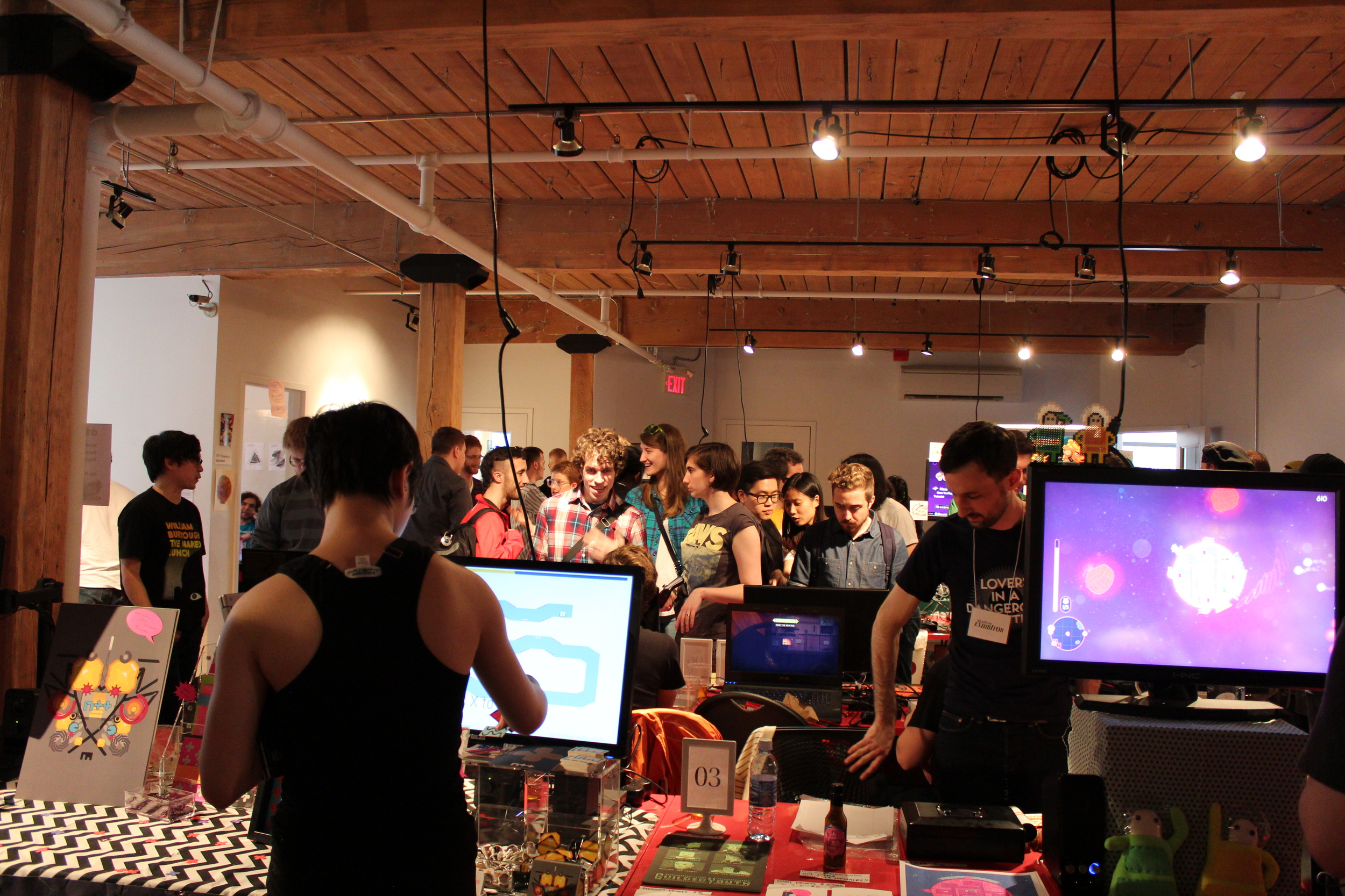 Welcome to the Bit Bazaar at the Bento Miso on May 10. Mare Shepard shows off N++ right next to the entrance.
