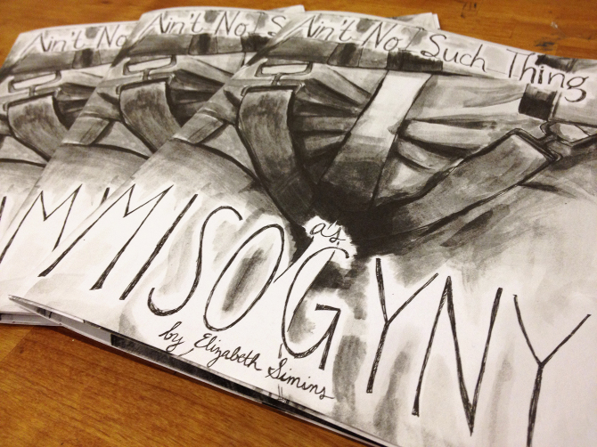 Elizabeth Simins's video game zine that collects her artwork and comics regarding misogyny in games. Courtesy Elizabeth Simins.