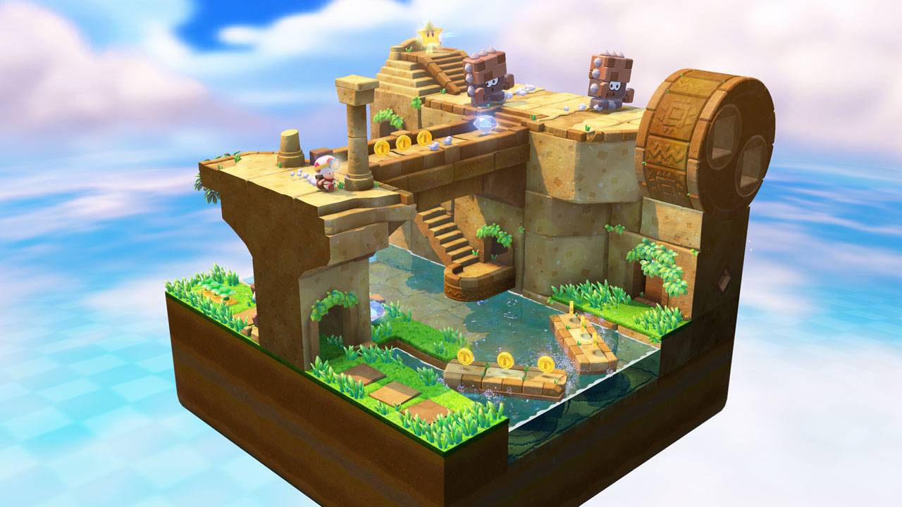 Zooming out Captain Toad levels is a lot like playing Where's Waldo, if Waldo had the voice of a shrill, screaming grandmother.
