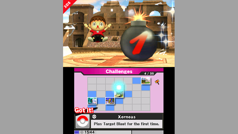 Smash Bros. 3DS Challenges Screen