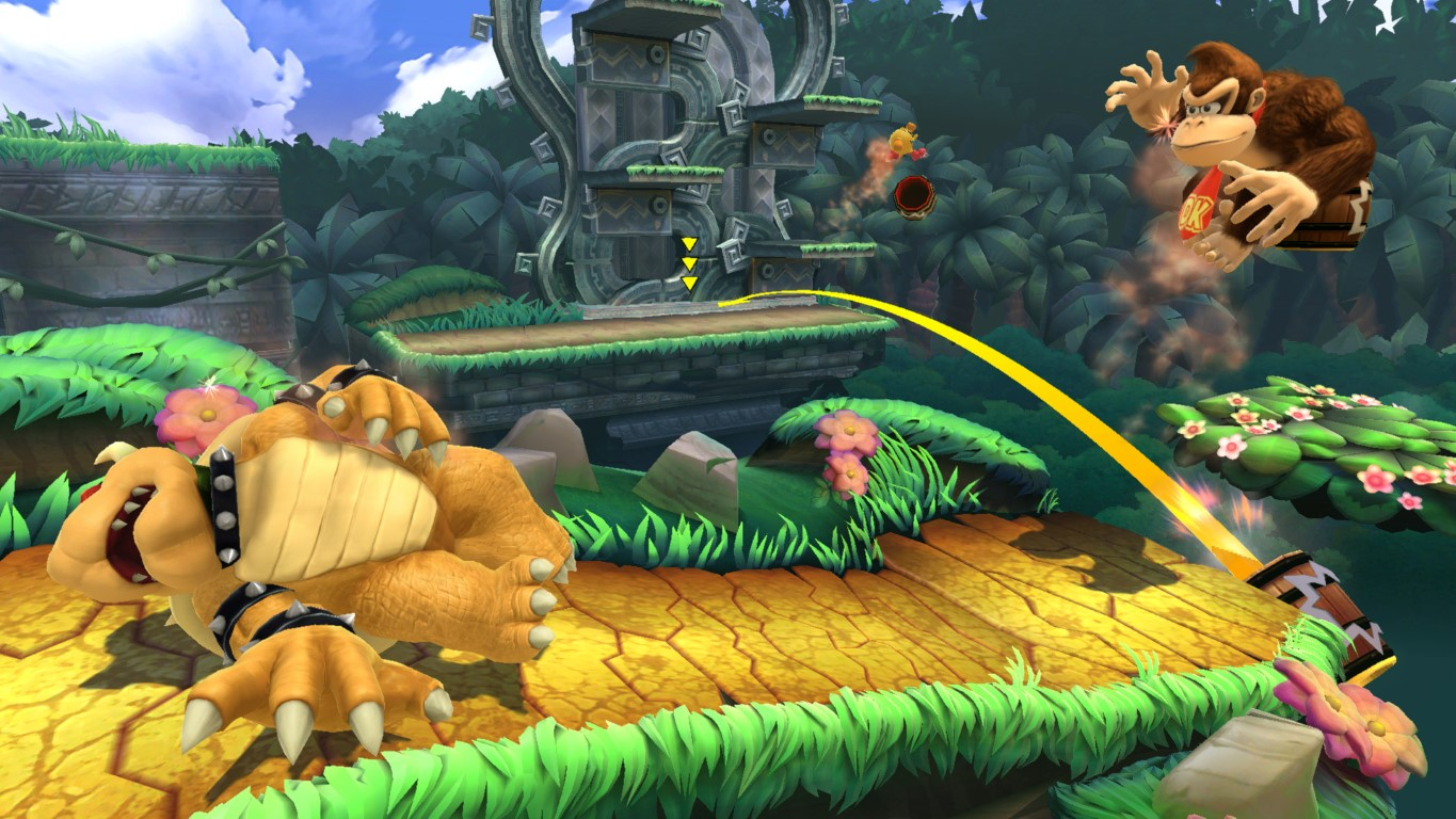 It's a lot easier to see yourself in the background areas of the new Jungle Hijinx stage than you'd think, but let's be honest: no gimmick could be worst than Rumble Falls.