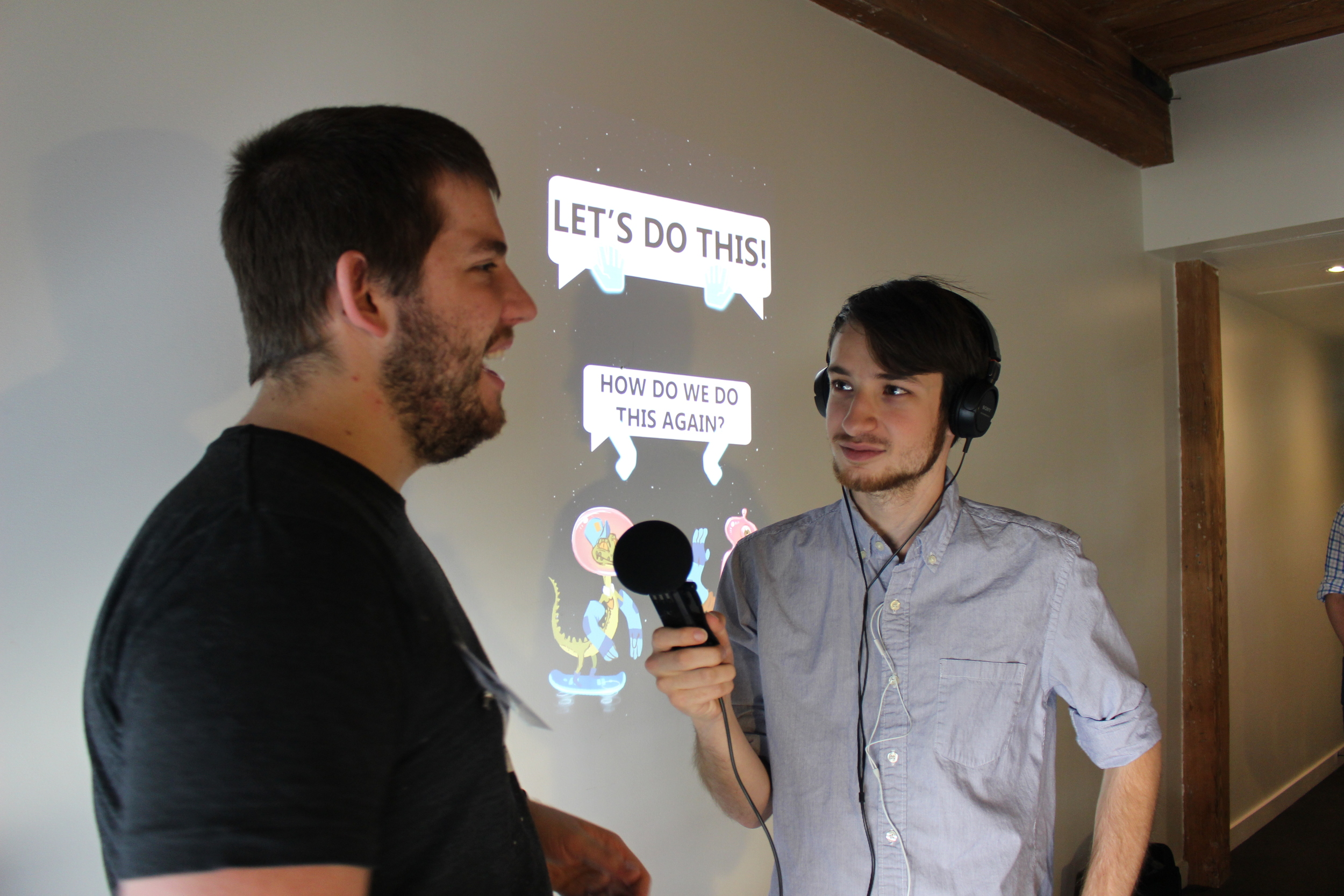 Nick Korneck talks to intrepid reporter Daniel Rosen as the game, Space Bro Justice Rocket, highlights what they are thinking behind them.