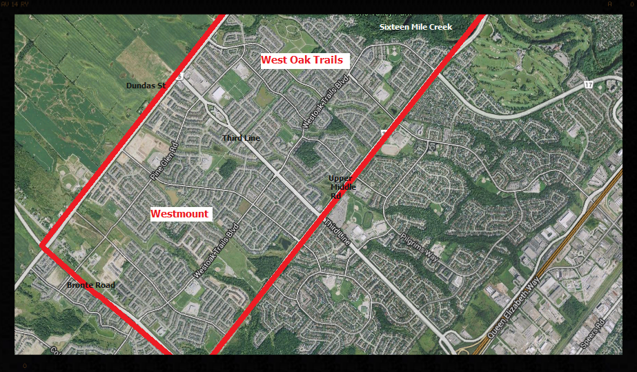 WEST OAK TRAILS AND WESTMOUNT ARE LOCATED IN NORTH WEST OAKVILLE.  THE AREA IS BORDERED BY BRONTE RD TO THE WEST, SIXTEEN MILE CREEK TO THE EAST, UPPER MIDDLE RD TO THE SOUTH AND DUNDAS RD TO THE NORTH.