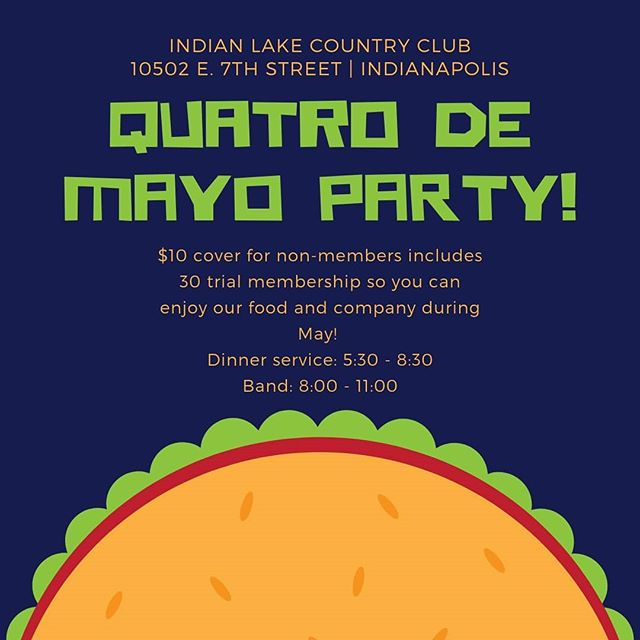 Come see us at @indian_lake_cc this Saturday for taco night + festivities! We're open to the public for our Quatro de Mayo party. Swipe for menu! #quatrodemayo #margs #citizenhash #foodtruck