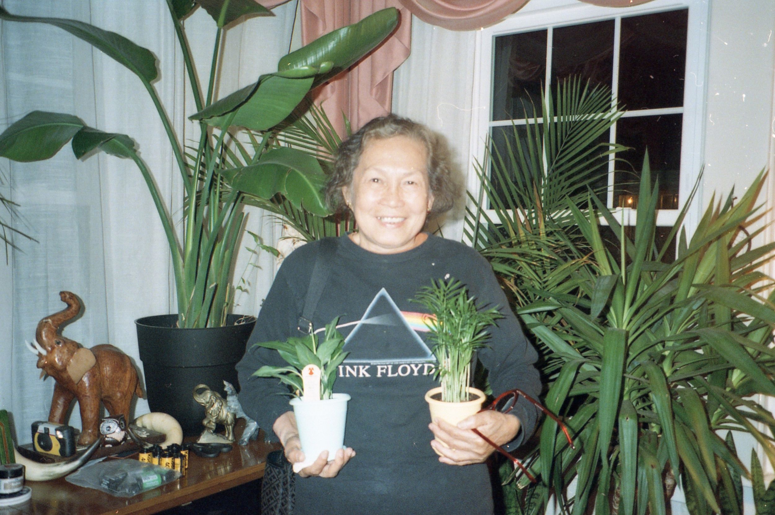 My Auntie in my living room (half the time I see her she's always wearing my old Pink Floyd shirt)