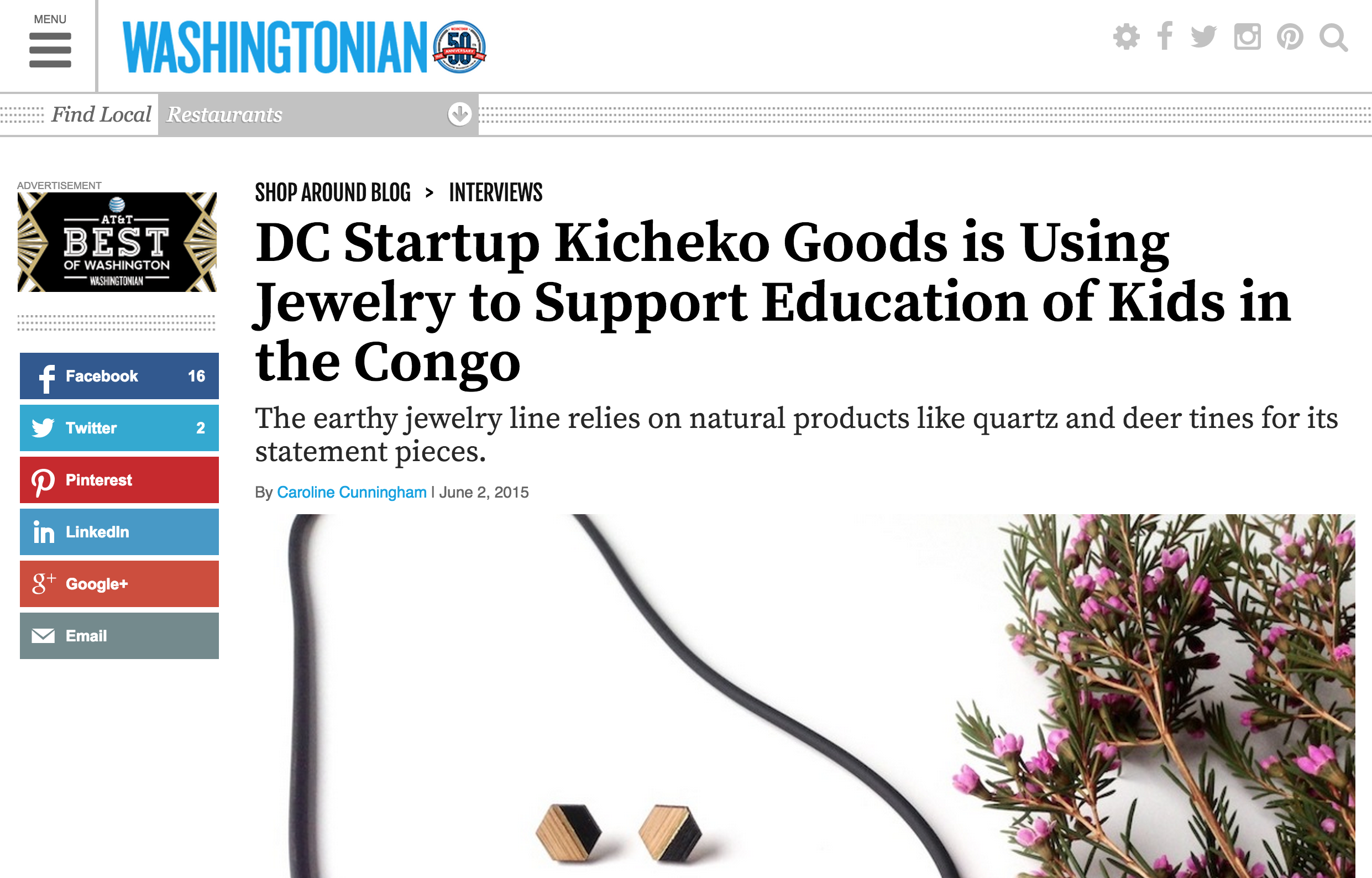 6.2 Washingtonian blog feature with interview by Caroline Cunningham