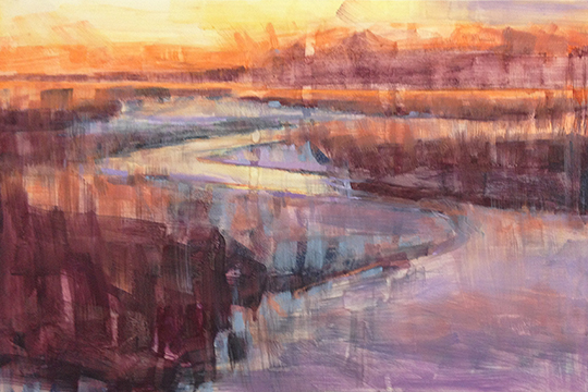 "Underpainting wash with alcohol for ""Low Tide Sunset"""