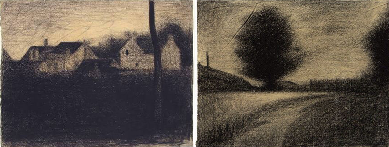 Value sketches in charcoal by Georges Seurat