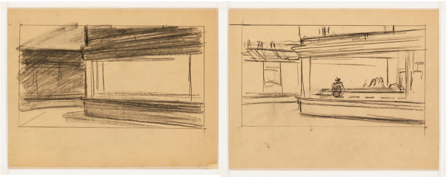 "Thumbnail sketches by Edward Hopper for the painting, ""Nighthawks"" reveal simple shapes"