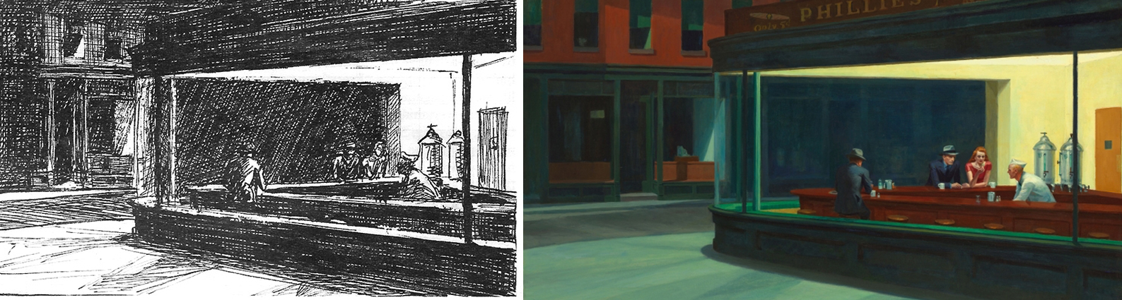 "Thumbnail design with ink pen for ""Nighthawks"" by Edward Hopper"