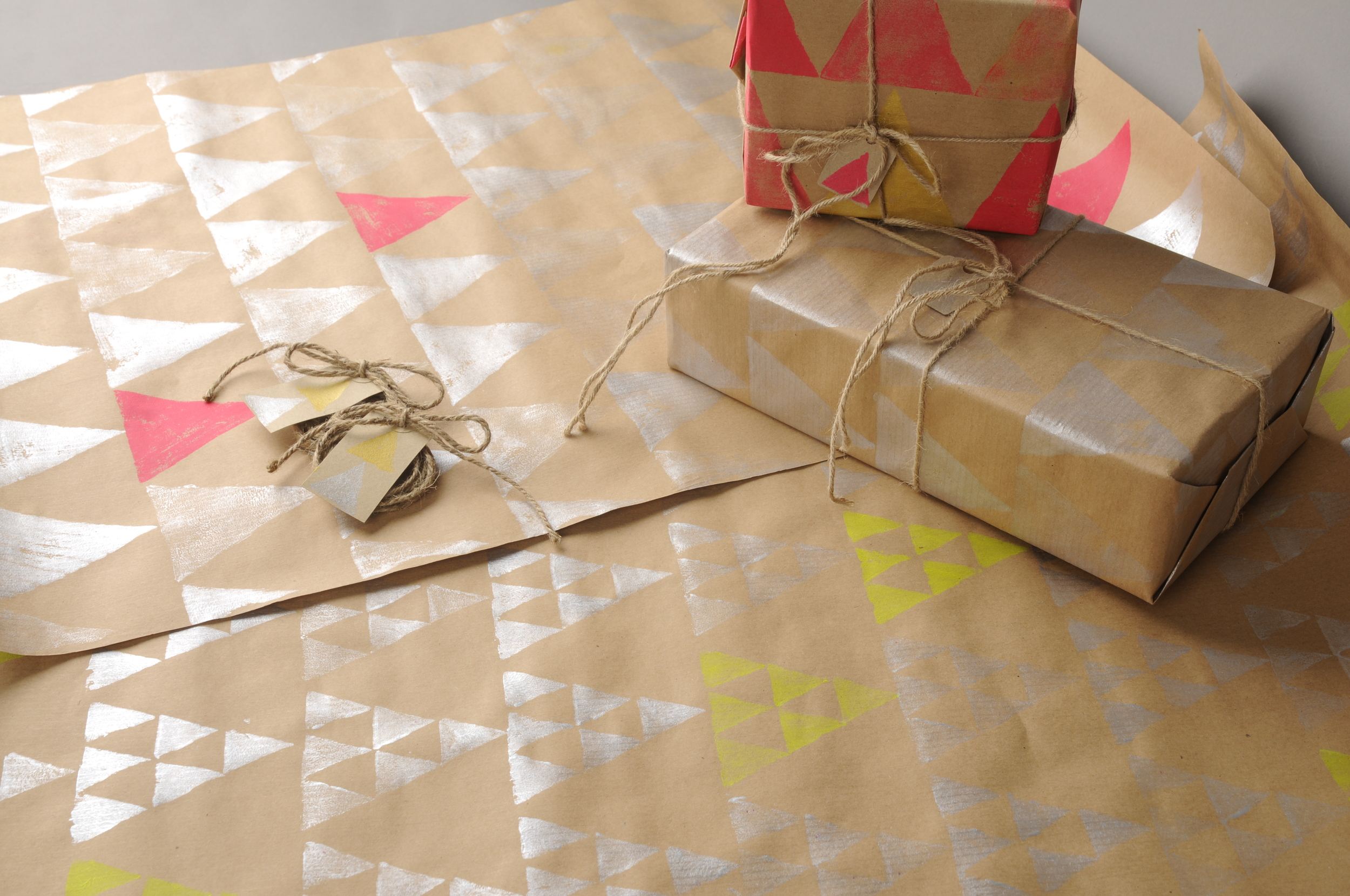Block printed gift wrap on 90gsm 100% recycled paper with tag  £3 per sheet