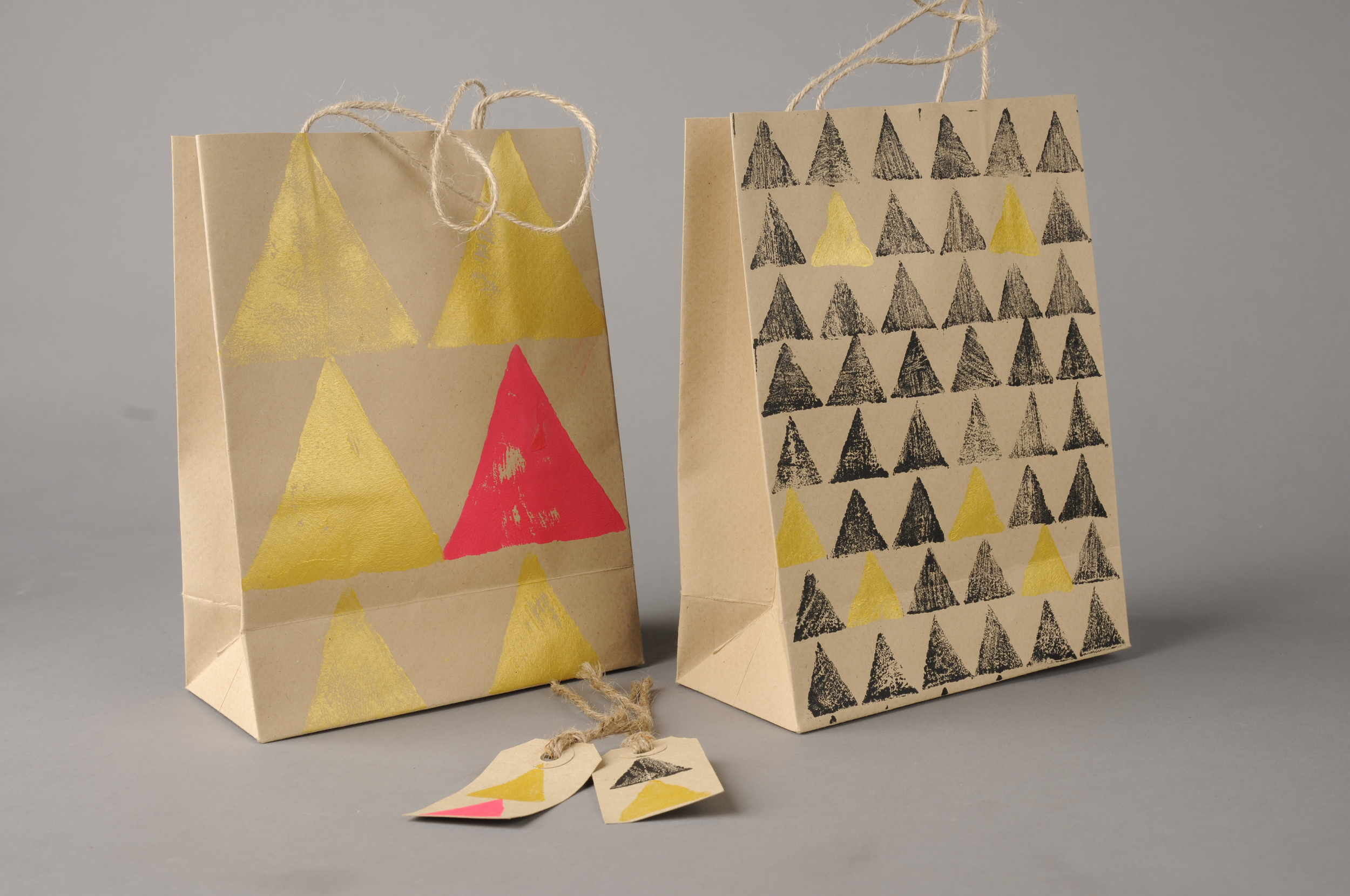 Block printed gift bags on 90gsm 100% recycled envelopes, with tags  £4 each  15x12x6cm approx