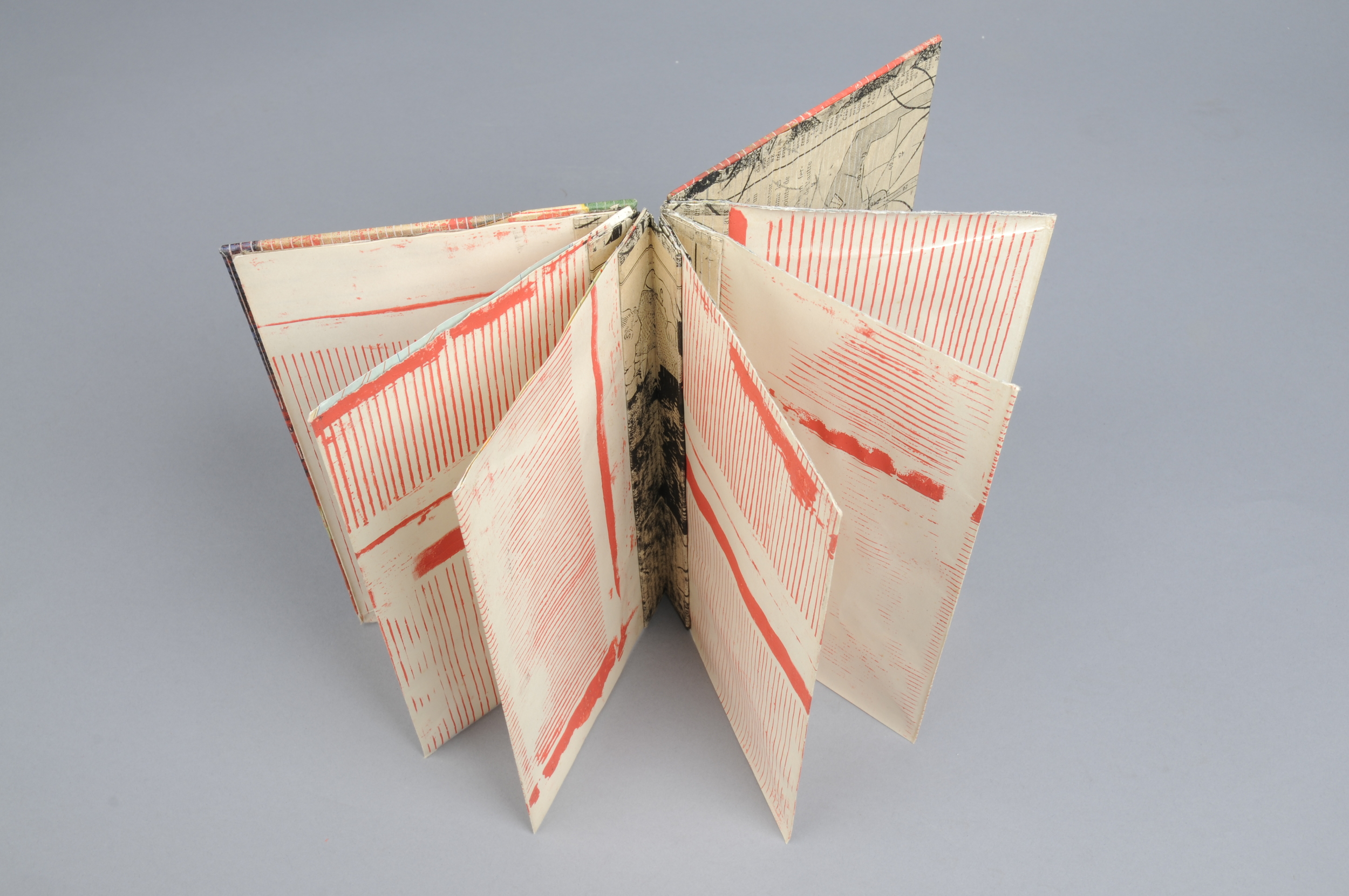 hand made book with screen print on found paper  2013